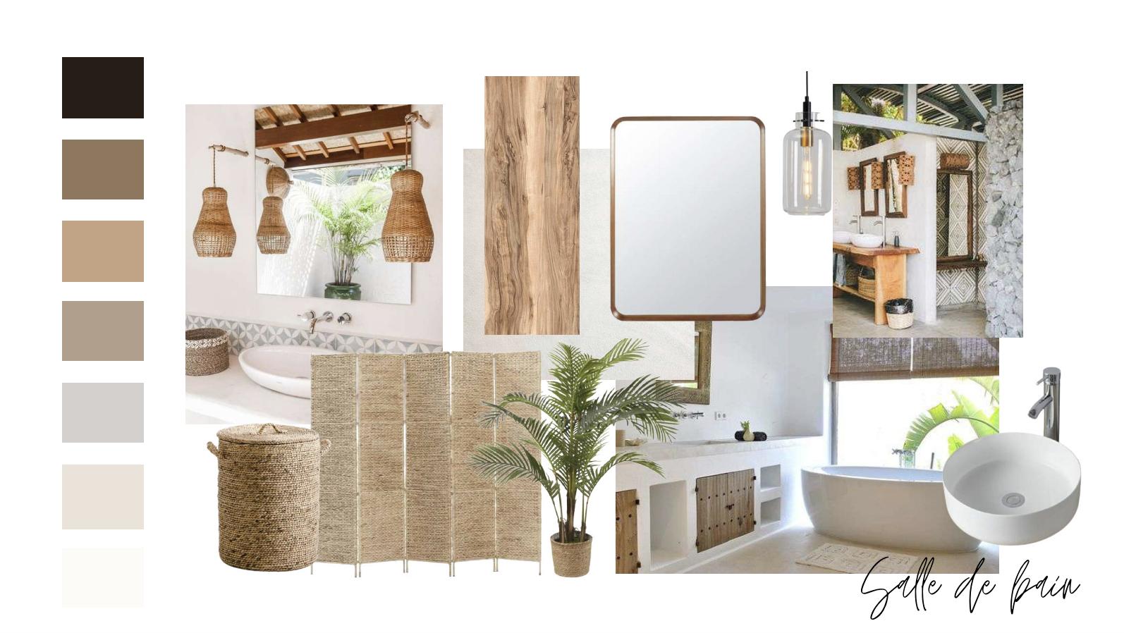 ambiance boheme planche tendance salle de bain matériaux couleurs inspiration béton ciré naturel mosaïque