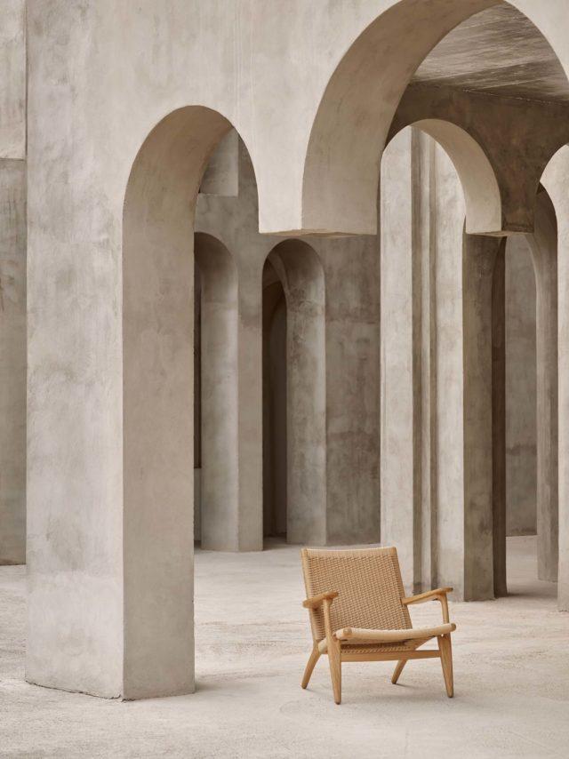 chaise slow design wegner mid century cannage tressage