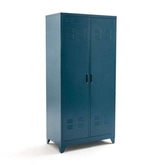 chambre couleur accessoire exemple armoire penderie métal industriel bleu pétrole