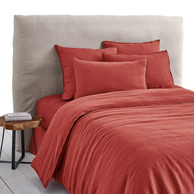 chambre couleur accessoire exemple housse de couette couleur terre cuite orangé