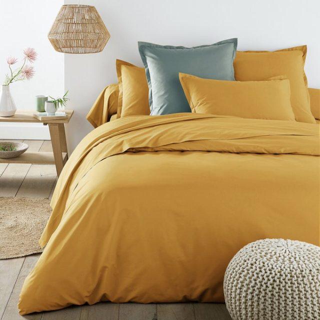 chambre couleur accessoire exemple housse de couette unie jaune ocre soleil
