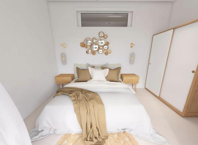 chambre deco boheme moderne lit blanc armoire blanche et bois accumulation murale textiles lin neutre et naturel