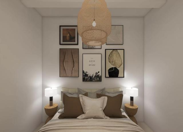 chambre deco boheme moderne tableau déco tête de lit table de chevet bois