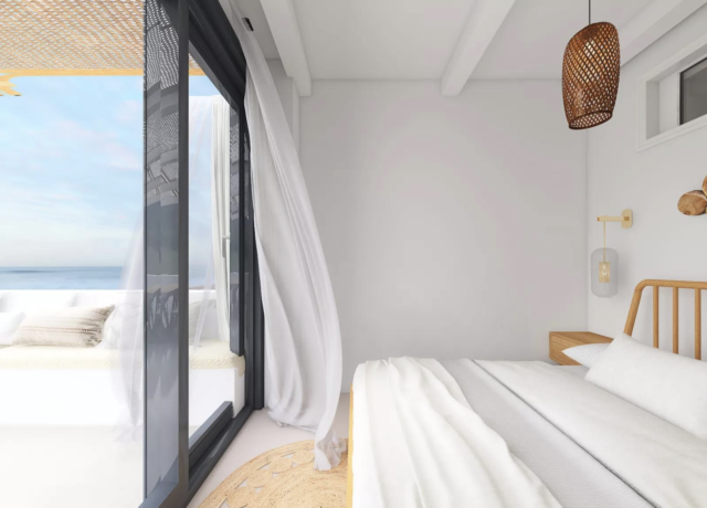 chambre deco boheme moderne baie vitrée terrasse rideau