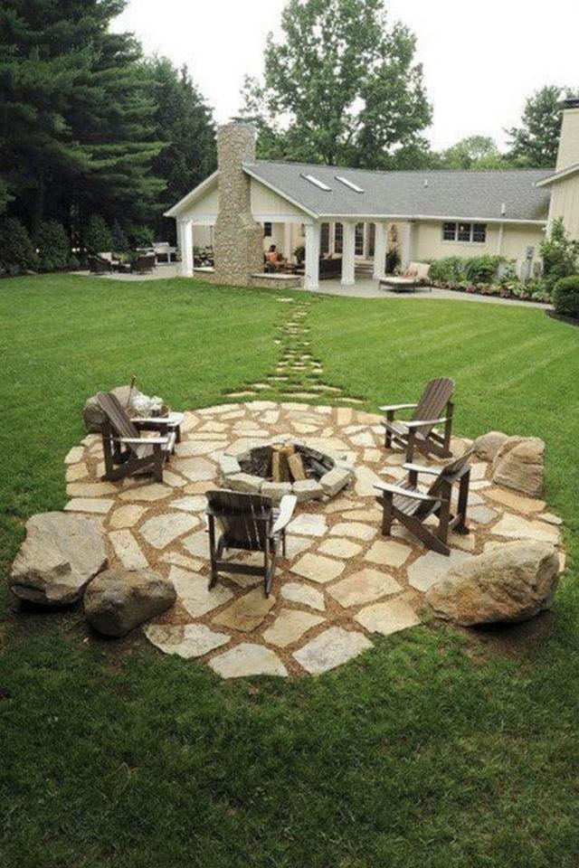 comment construire brasero jardin terrasse pavés pierre