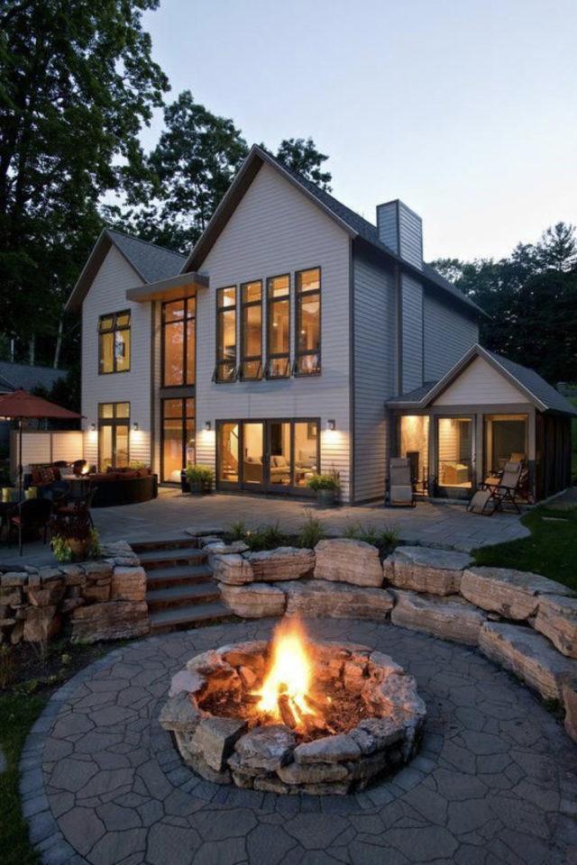 comment construire brasero jardin espace feu circulaire exemple