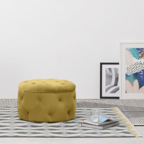 couleur chambre accessoire decoration mobilier pouf capitonné jaune ocre