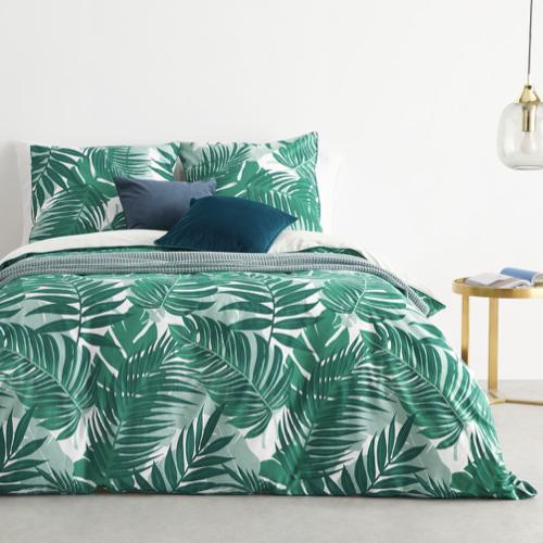 couleur chambre accessoire decoration mobilier parure de lit imprimé tropical vert