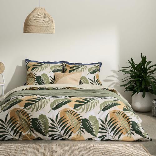 couleur chambre accessoire decoration mobilier parure de lit imprimé vert orange naturel