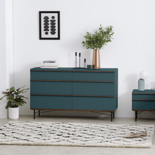 couleur chambre accessoire decoration mobilier commode bleu canard
