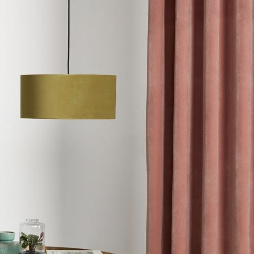 couleur chambre accessoire decoration mobilier luminaire suspension abat-jour jaune ocre moutarde