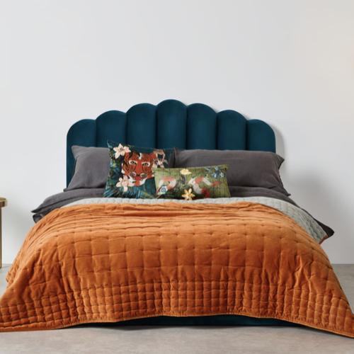 couleur chambre accessoire decoration mobilier linge de lit couvre-lit orange