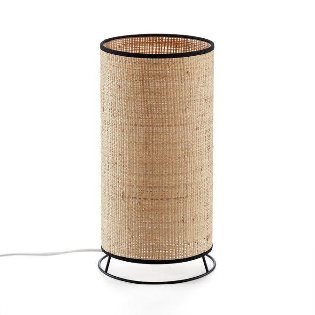 creer salon minimaliste facilement lampe à poser cylindrique cannage slow living