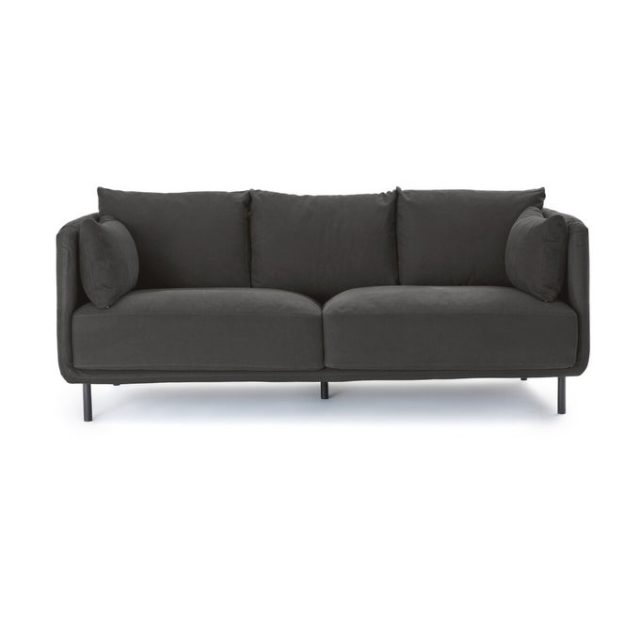 creer salon minimaliste facilement petite canapé tissu gris anthracite