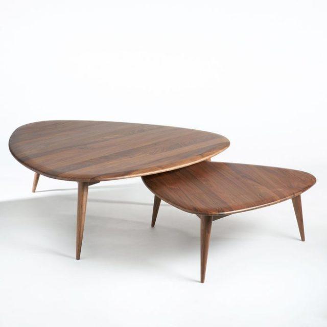 creer salon minimaliste facilement table basse forme organique naturelle bois noyer