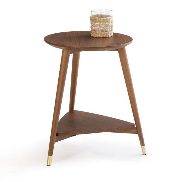 creer salon minimaliste facilement bout de canapé trépied bois style mid century moderne