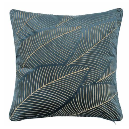deco chambre accesoire colore coussin carré vert foncé motif doré tropical imprimé