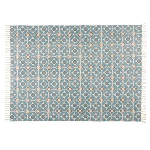 deco chambre accesoire colore petit tapis descente de lit bleu blanc motif moderne