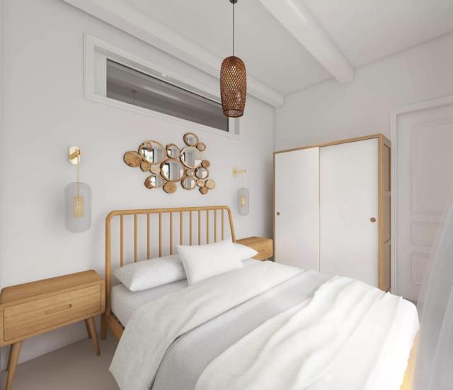 decor moderne boho chic chambre adulte tête de lit rotin ambiance moderne