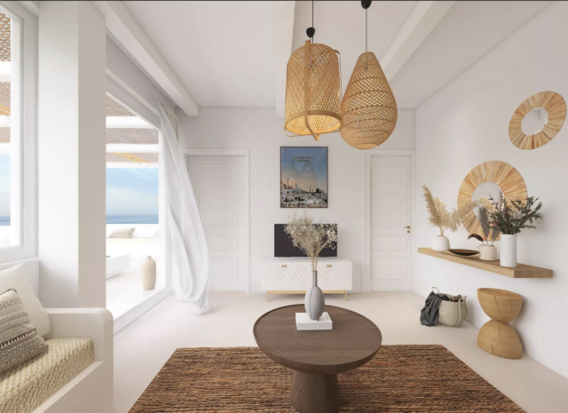 decor moderne boho chic baie vitrée salon décloisonné table basse tapis