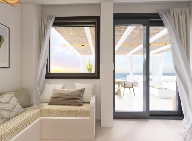 decor moderne boho chic baie vitrée terrasse maison de vacances