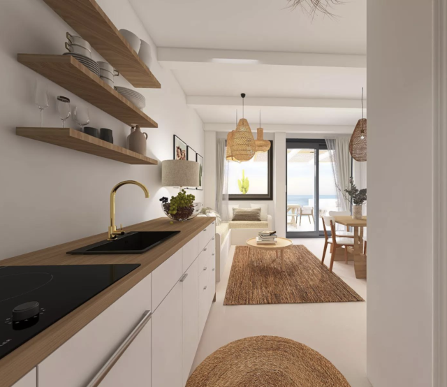 decor moderne boho chic cuisine en linéaire blanche plan de travail bois