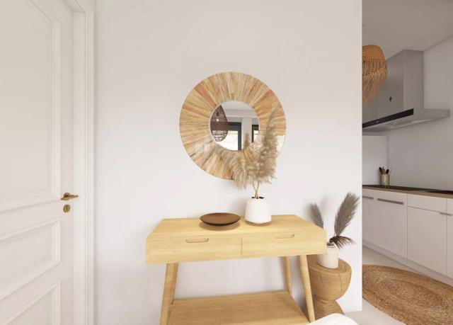 decor moderne boho chic console bois miroir naturel