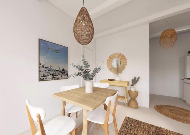 decoration boheme sejour exemple coin repas petite table bois chaises blanche luminaire rotin