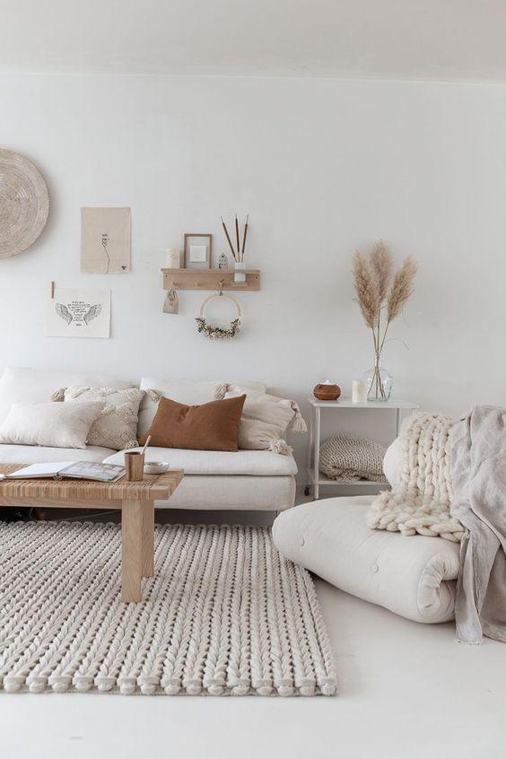 decoration minimaliste salon indispensables slow living slowlife couleur blanc et neutre
