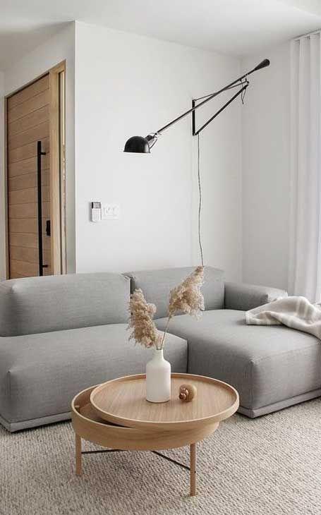 decoration minimalisme salon indispensables canapé angle design épuré gris