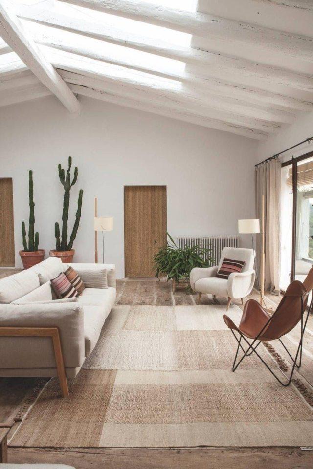 decoration minimaliste salon indispensables couleur neutre beige écru ivoire blanc cuir