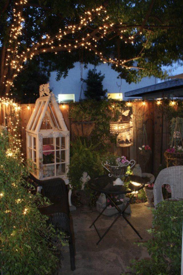 eclairage jardin exemple a copier ambiance bucolique campagne chic luminaire guirlande