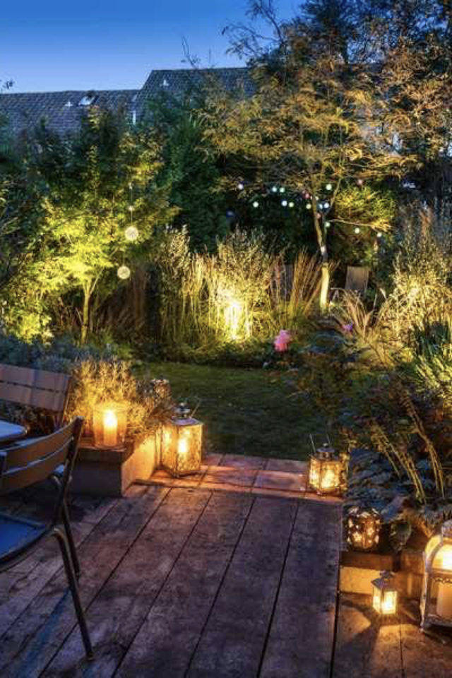 eclairage jardin exemple a copier lanternes bougies terrasse
