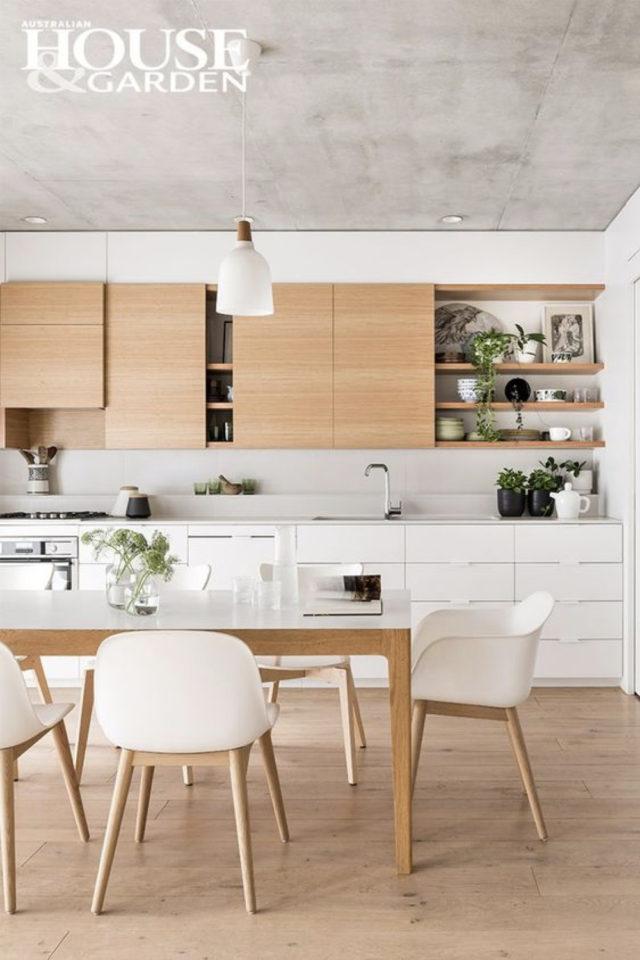 espace repas style japandi cuisine salle à manger ouverte bois et blanc