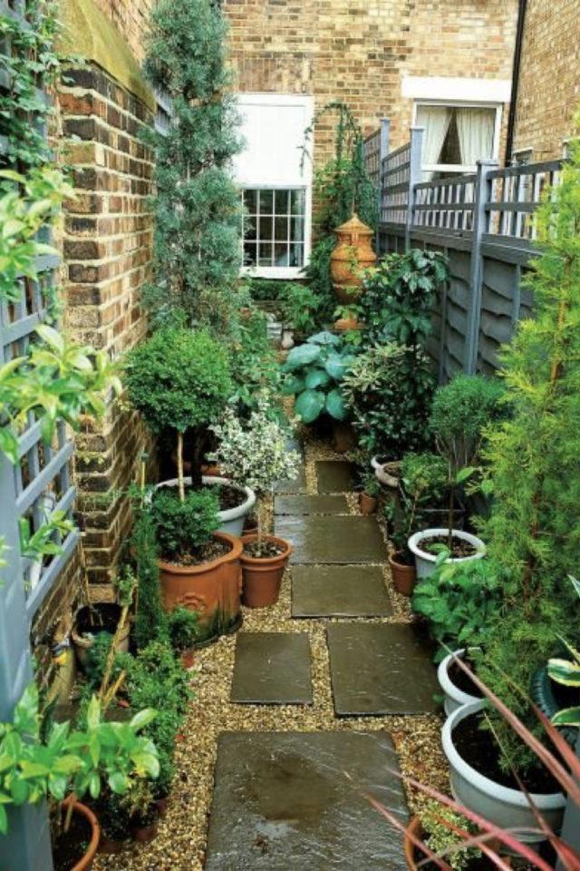 exemple exterieur en longueur jardin terrasse allée plantes vertes en pot