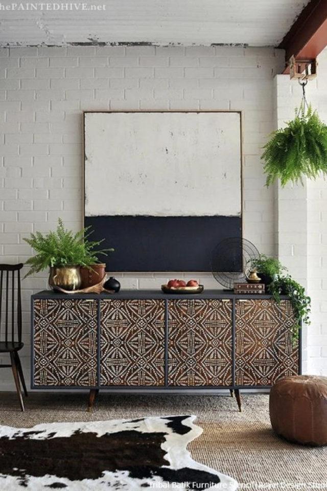 exemple meuble vintage relooke peinture enfilade buffet uni et pochoir