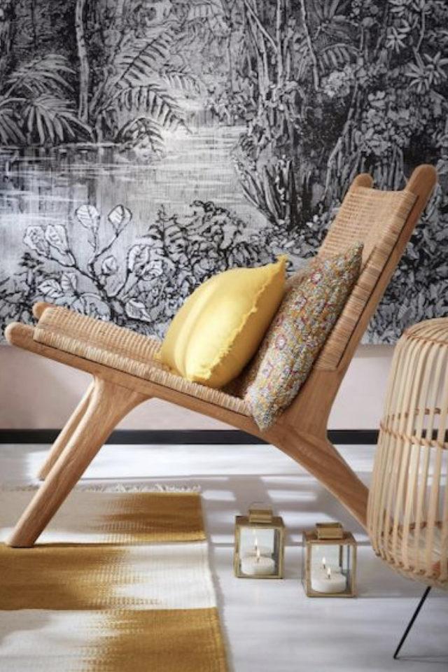 fauteuil tendance deco slow design cannage papier peint imprimé tropical noir et blanc