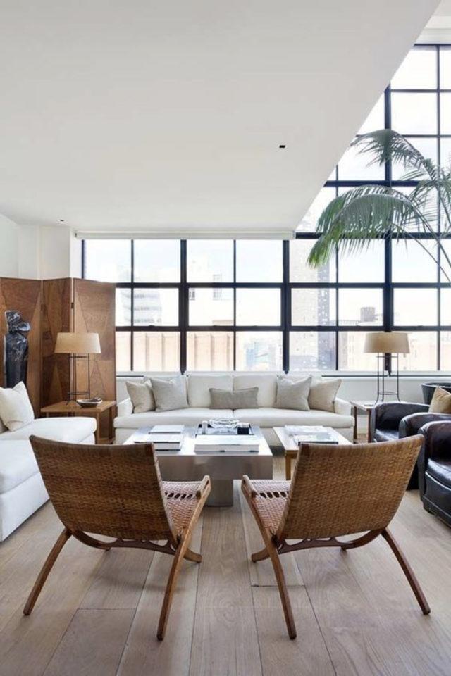 fauteuil tendance deco slow design exemple salon séjour baie vitrée grand canapé
