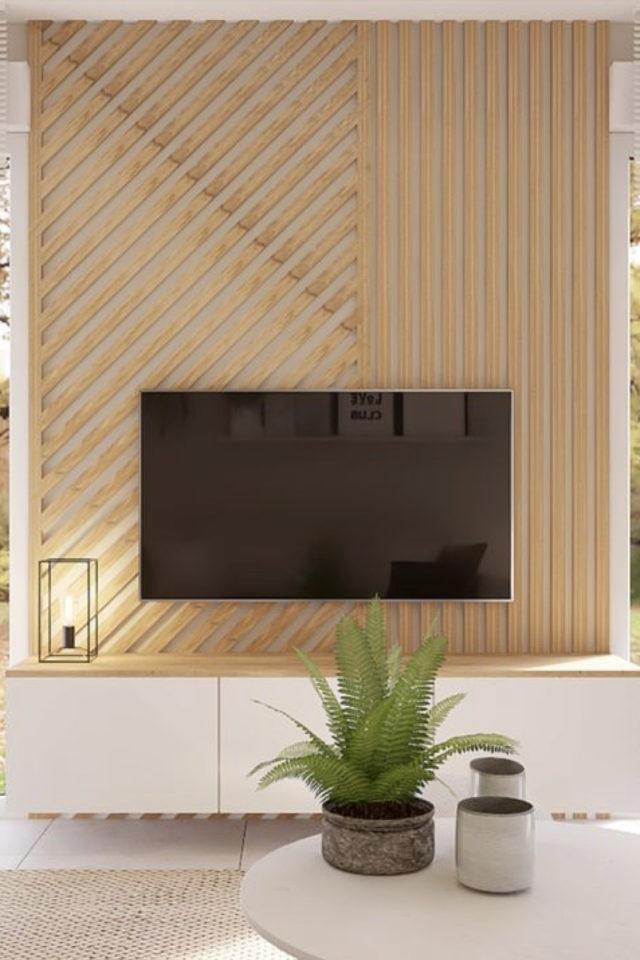 habillage mur salon bois exemple meuble télé tasseau bois moderne
