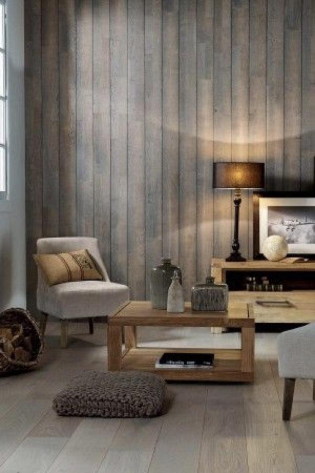 habillage mur salon bois exemple lambris bardage fumé chaleureux