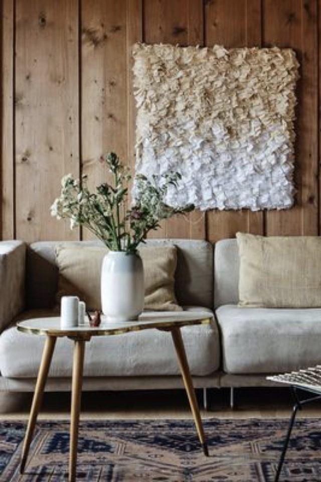 habillage mur salon bois exemple vardage bois style chalet de montagne