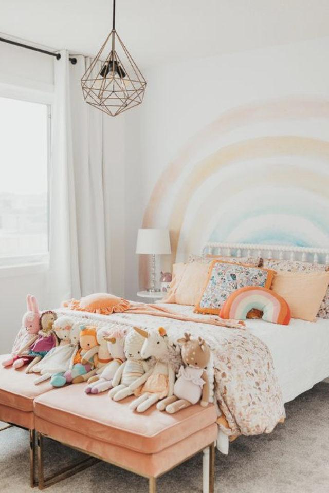 luminaire chambre enfant exemple chambre fillette arc en ciel couleur pastel suspension féminine