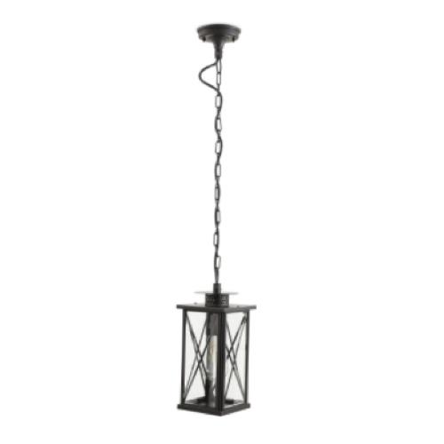 luminaire jardin pas cher suspension extérieur lanterne métal et verre noir