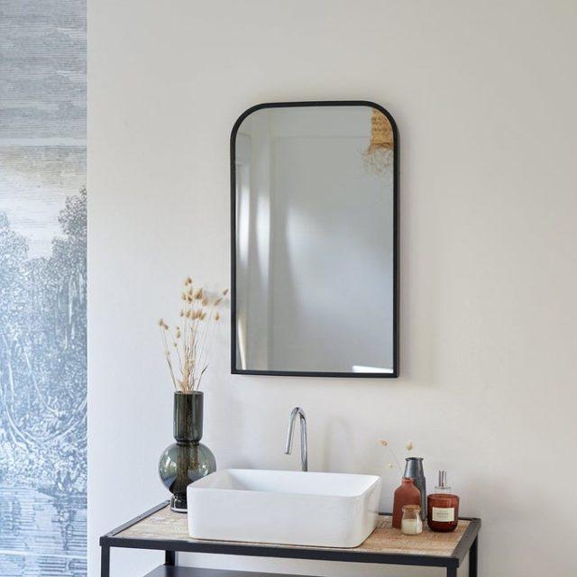 miroir salle de bain double vasque moderne angle arrondi noir