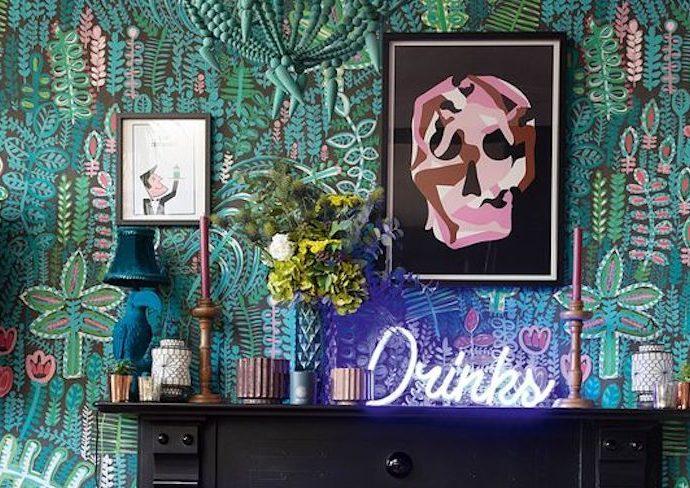 objet deco rock exemple decoration murale à poser tête de mort doigt d'honneur musique vinyle instrument