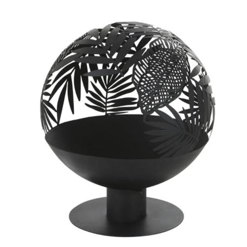 ou trouver brasero deco jardin sphère découpée motif végétal tropical noir