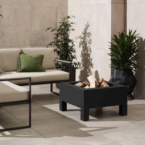 ou trouver brasero jardin moderne carré noir 4 pieds