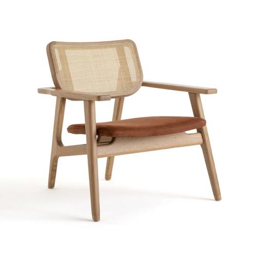 ou trouver fauteuil epure design cannage bois nubuck accoudoirs