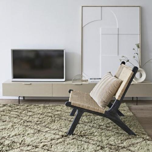 ou trouver fauteuil epure design cannage structure noire assise et dossier tressés naturel