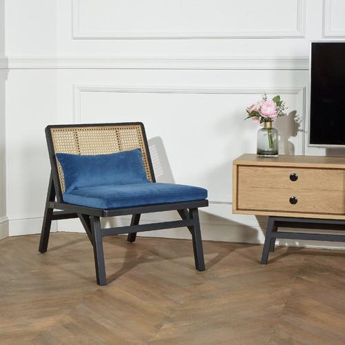 ou trouver fauteuil epure design cannage stucture noir assise tressée naturelle